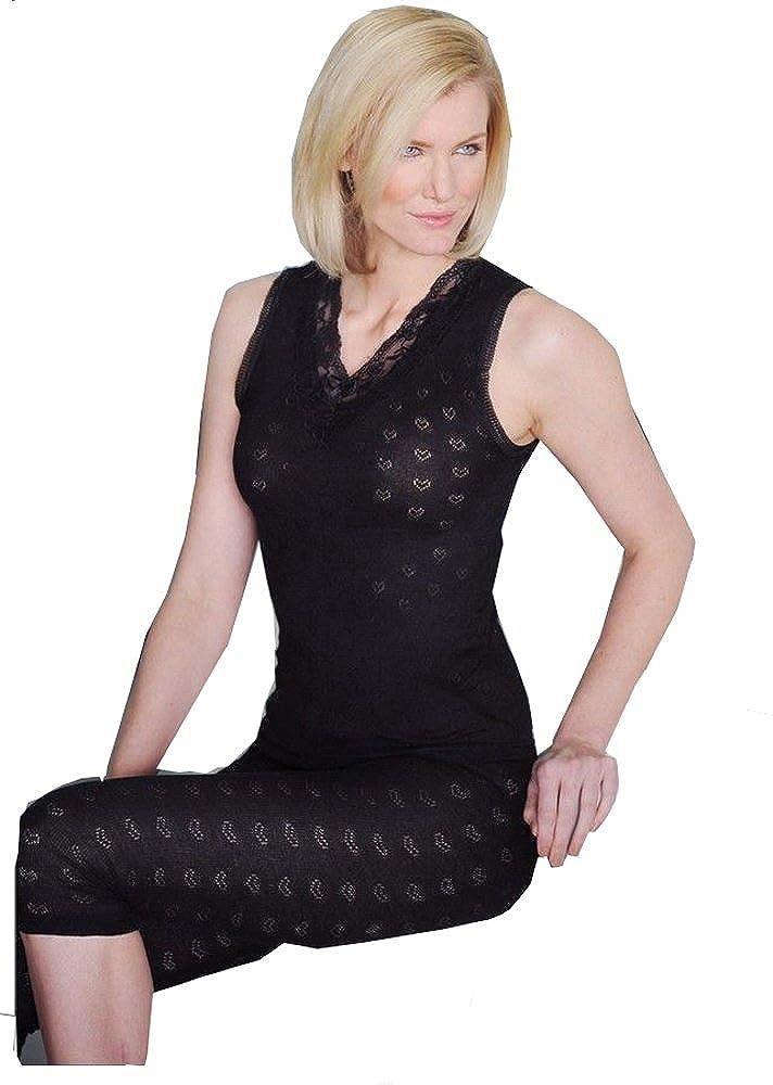 Delux Wear Ladies Thermal Underwear Sleeveless Cotton Vests in Black