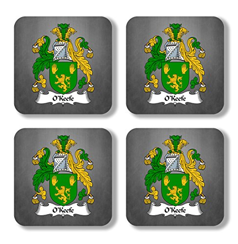 O'Keefe Coat of Arms/Family Crest Coaster Set, by Carpe Diem Designs - Made in the U.S.A.