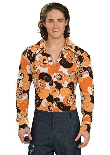 Rubie's Costume Groovy Shirt Orange Costume, Standard (70s Themed Costumes)