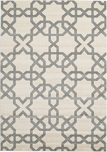 Modern Geometric 7 feet by 10 feet (7' x 10') Trellis Beige Contemporary Area Rug