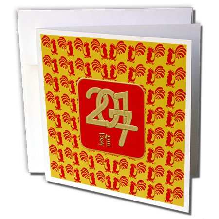Chinese New Year Rooster - Beverly Turner Chinese New Year Design - 2017 Framed, Red Roosters Background, Sign of the Rooster in Chinese - 1 Greeting Card with envelope (gc_244230_5)