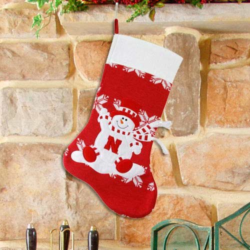 Nebraska Huskers NCAA Snowman Christmas Knit Stocking