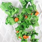 Mynse 5 Pieces 95'' Fake Fruit String Home Garden Fence Market Decoration Artficial Pumpkin and Vines