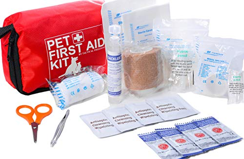 Pet First Aid Kit Dog  Vet Approved and is Perfect for Bleeding Nails, Clean, Dress Wounds. Self Adhering Bandage Will Not Stick to Hair. Hiking Dog First Aid Kit for Backpacking, Camping, Travel