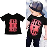 TIFENNY Clearance Baby Boys Short Sleeve Letter Printed T-shirt Tops Clothes (6T, Black)