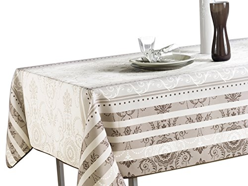 60 x 95-Inch Rectangular Tablecloth Ivory White Brown Baroque, Stain Resistant, Washable, Liquid Spills bead up, Seats 8 to 10 People (Other Size Available: 63