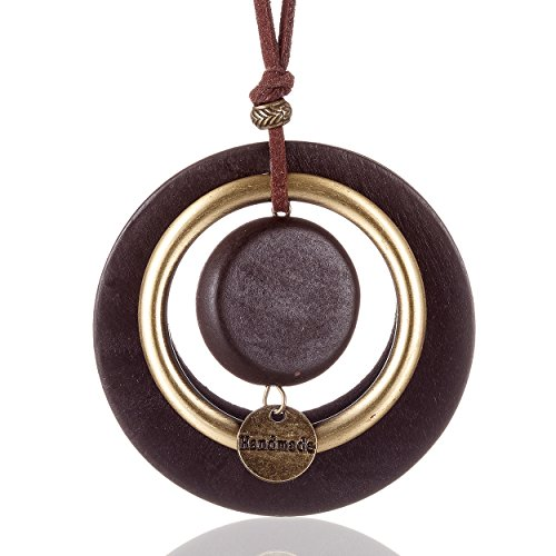 Coostuff 2018 Hotsale Handmade Necklaces with Wood Pendant Vintage Long Necklace for Women Jewelry