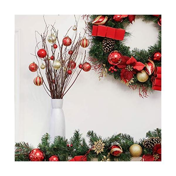 Valery Madelyn Palle di Natale 24 Pezzi 6cm Palline di Natale, Ornamenti di Palla di Natale Infrangibili di Lusso Rosso e Oro per la Decorazione Dell'Albero di Natale 6 spesavip
