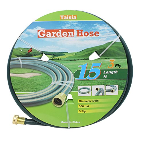 "Taisia PVC Garden/Farm/Water hose 5/8""X15ft-3PLY- lead-free,Great for gardens/Farm and Ranch (15 FT)"