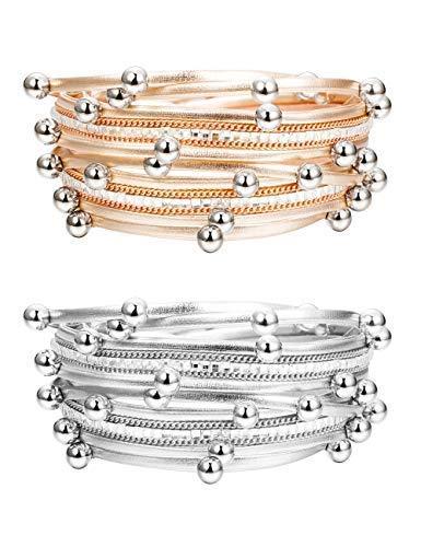 (Finrezio 2 PCS Silver&Rose Gold Tone Leather Cuff Bracelets Women Girls Fashion Bead Charm Bracelet Set)