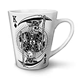 Poker Horror King Skull White Ceramic Latte Mug 12 oz | Wellcoda