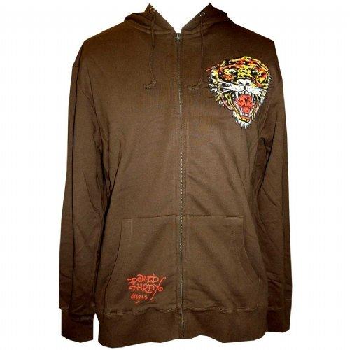 Ed Hardy Mens Tiger Zip up Hoodie - Brown (Size Xl)