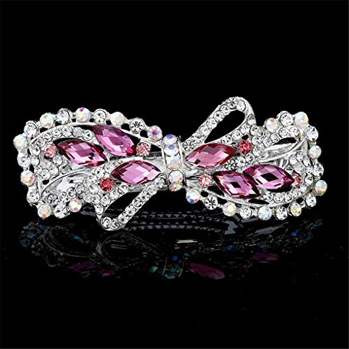 - Crystal Hair Barrettes Accessories Women Hair Clips Flower Rosette Hairpins Bowknot Wedding Headwear Pink