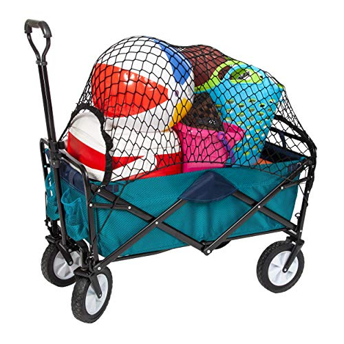 Mac Sports Collapsible Folding Outdoor Utility Wagon Bundle Cargo Net - Teal