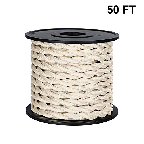 ([UL Listed] 50ft Twisted Cloth Covered Wire, Carry360 Antique Industrial Electronic Wire, 18-Gauge 2-Conductor Vintage Style Fabric Lamp/Pendant Cloth Cord Cable (Beige))