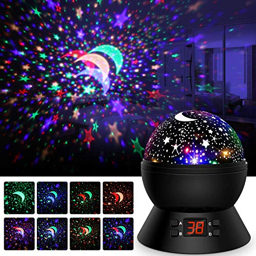 Night Lights for Kids, Star Projector 360-Degree Rotating Baby Night Light Star Sky Bed Lamps with LED Timer Auto-Shut, Multiple Color Changing for Kids Baby Nursery Bedroom Room Decor, Christmas Gift