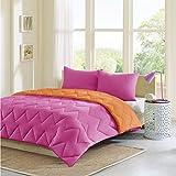 queen quilt solid pink - Intelligent Design Trixie Reversible Down Alternative Comforter Mini Set, Full/ Queen, Pink/ Orange