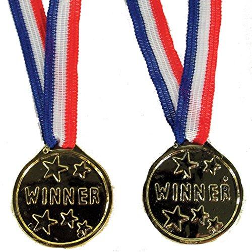 Ribbon Medallion (12 Pieces of Kids Winner Gold Medallion Winner Bulk Novelty Toy Medals)