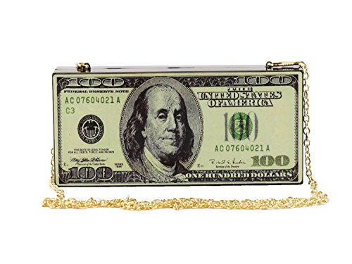 Hearty Trendy Hundred Dollar Bill Box Clutch Handbag Shoulder Bag