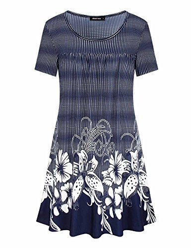 (Altelime Womens Tunic, Floral Print Long Tee Shirt Short Sleeve Scoop Neck Flattering Stitching Soft Knit Swing Flared Hem Flow Pleated Pattered Blouse Top(Royal Blue, X-Large))