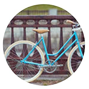 alfombrilla de ratón hermosa mujer joven, elegantemente vestido con la bicicleta - ronda - 20cm