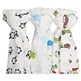 Muslin Swaddle Blankets for Baby,100% Cotton Muslin 47 x 47 inch Baby Blankets Cloth Diapers for Wrapping and Swaddling Infants,Pack of 3 (Panda + Old Car + Whale)