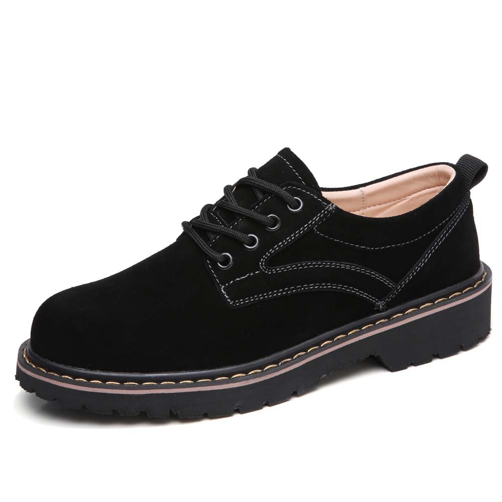 YKH-WF030heise41 Womens Round Toe Suede Leather Lace up Oxfords Shoes Low Top Casual Sneakers Black 8.5 US