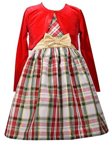 Bonnie Jean Girls' Taffeta Holiday Cardigan Dress Set (10, Red)