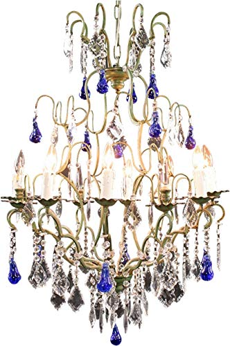 EuroLuxHome Large Maria Theresa Style 12-Arm Chandelier Blue Murano Glass Pear Pendants