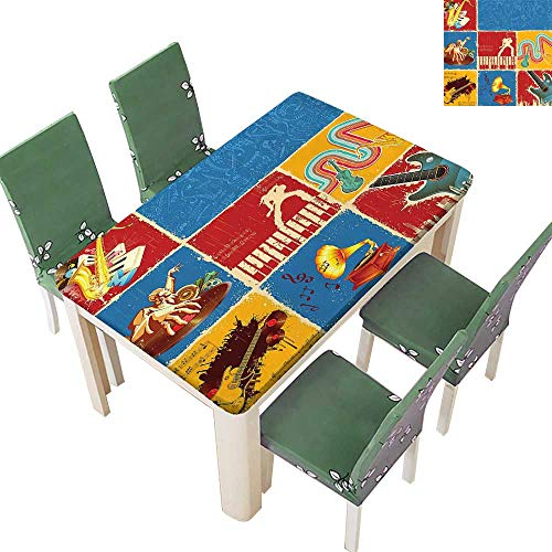 - Printsonne Polyester Fabric Tablecloth Collage Different Music Instruments Violin Jazz Pop Boho Suitable for Home use 54 x 102 Inch (Elastic Edge)