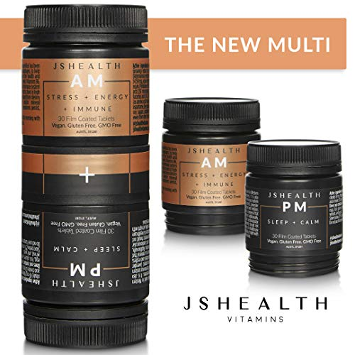 JSHealth Vitamins, AM + PM Formula, Daily Multivitamin Supplement, Boost Energy and Immune System, Relieve Stress and Anxiety, Calm Sleep, Women and Men, Vegan, Non-GMO(60 Tablets, 30 Day Supply) (Animal Pm Supplements)