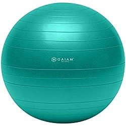 Gaiam Total Body Balance Ball Kit - Includes 55cm Anti-Burst Stability Exercise Yoga Ball, Air Pump & Workout DVD - Purple