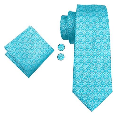 Hi-Tie Necktie Set Mens Wedding Tie with Pocket Square Cufflinks Set Silk Tie Formal Turquoise Blue Tie by Hi-Tie