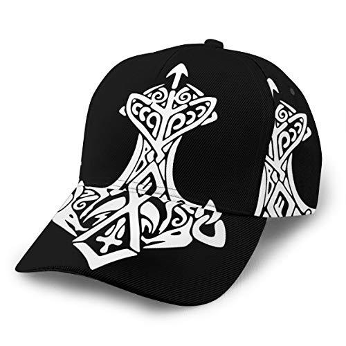Viking Thors Hammer Thunder Unisex 3D Printing Classic Baseball Cap Snapback Flat Bill Hip Hop Hats Black (Thor Flat Bill Hats)