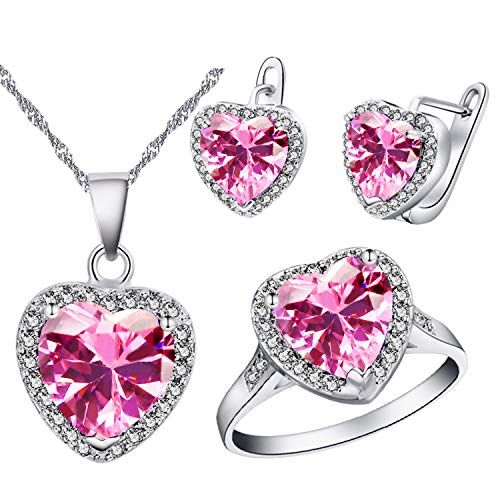 Uloveido White Gold Plated Large Pink Stone Heart Earrings Necklace Pendant and Charm Anniversary Rings Jewelry Set for Bridal Women T481 -