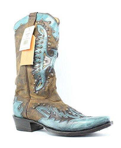 Stetson Women's Studded Eagle Riding Boot, Blue, 8.5 B US