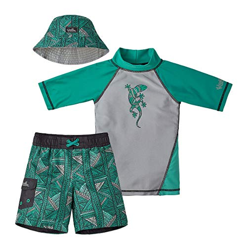 UV SKINZ UPF 50+ Boys 3-Piece Swim Set (12/18m, Green Geo Lizard) -