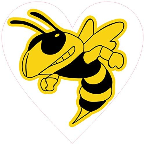 EvelynDavid 4inches x 4inches Yellow Hornet Mascot Heart Sticker Vinches yl Vehicle Bumper Stickers Home Decal