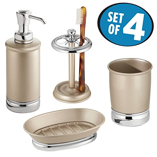 mDesign Bathroom Tumbler, Toothbrush Holder, Soap Dish and Soap Dispenser Pump - Set of 4, Pearl Champagne/Chrome