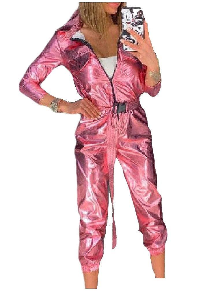 FreedomWomen Top Zipper Lapel Collar Casual Glitter Athletic Jumpsuits