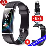 STAYFITUSA Fitness Tracker Color Screen HR,with Heart Rate Monitor,IP68 Waterproof smart watch,Calorie, Step Counter, pedometer watch for Kids Men Women (Black+Free Replacement Band +Free USB Charger)