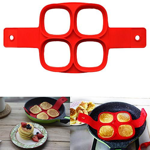 Datework Silicone Red Four Holes Egg Fried Pancake Mould Shaper Ring (Skull Sock Mask)