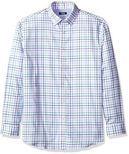 IZOD Men's Slim Fit Windowpane Check Buttondown Collar Dress Shirt, Green Frost, 17.5