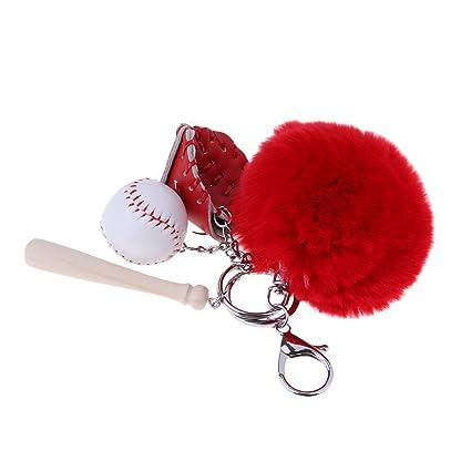 perfk Llavero Colgante Keychain de Peluche con Beisbol ...
