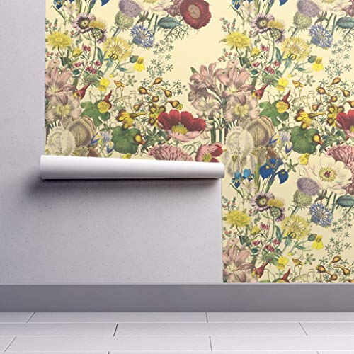 Flowers Wallpaper Roll - Floral Botanical Antique Redoute Vines Trianon Cream by Peacoquettedesigns - 1 Roll 24in x 27ft (Vine Wallpaper Botanical)