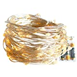LED String Lights, WizPower 33FT Battery Operated Fairy Lights – Decorative Lighting, 100 Warm White LED Christmas Lights for Room, Party, Wedding, Garden, Decorating and More (33FT/10M)