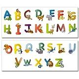 Pegatinas para la pared Wandkings «ABC animal, abecedario inglés» - Juego de adhesivos en pack gigante de 26 unidades en 2 hojas de 130 x 70 cm