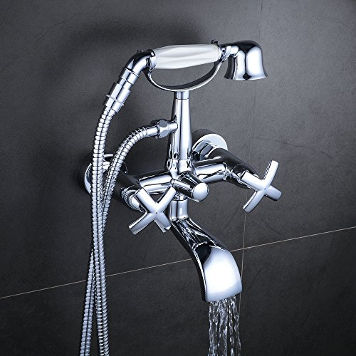 Hiendure Traditional Wall-Mounted Double Cross Handle Waterfall Bath Shower Mixer Faucet Polished Chrome with Handheld Shower Head,5.12''-6.69