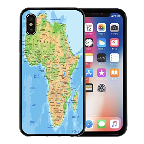 Semtomn Phone Case for Apple iPhone Xs case,African High Detailed Africa Physical Map Labeling Madagascar South for iPhone X Case,Rubber Border Protective Case,Black (Physical Geography Of Africa South Of The Sahara)