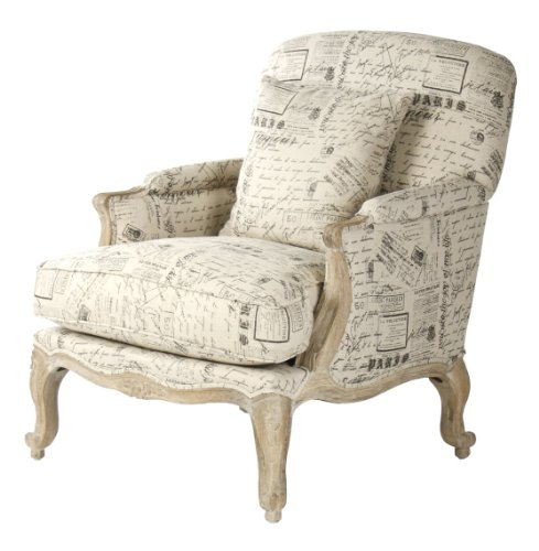 Amazoncom French Country Literary Script Linen Club Chair - French country chairs